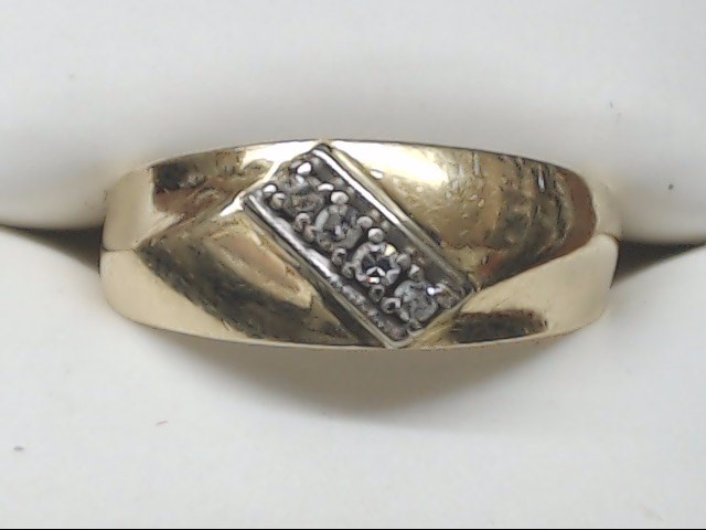 Gent's Gold-Diamond Wedding Band 4 Diamonds 0.12 Carat T.W. 14K Yellow Gold 3.7g
