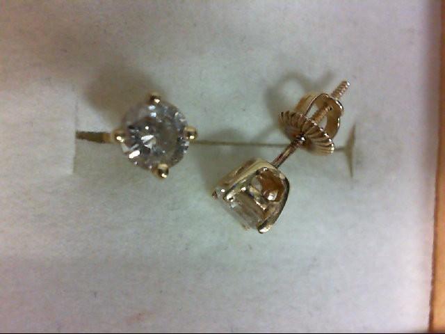 Gold-Diamond Earrings 2 Diamonds 0.76 Carat T.W. 14K Yellow Gold 1.1g
