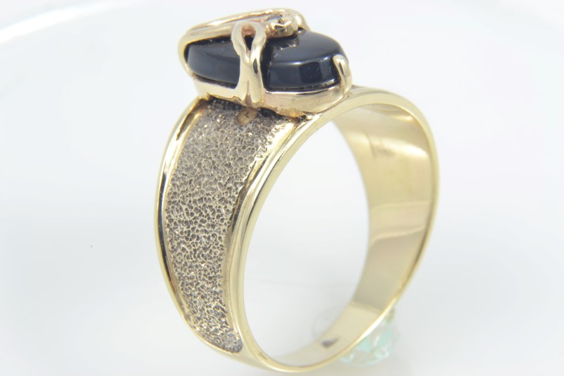 ESTATE BLACK ONYX RING SOLID 14K GOLD FLOWER MARQUISE DIAMOND SIZE 6