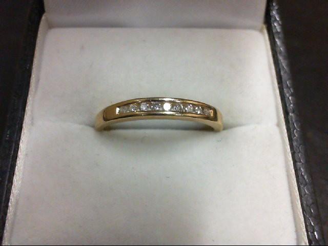 Lady's Diamond Wedding Band 9 Diamonds 0.09 Carat T.W. 14K Yellow Gold 2g
