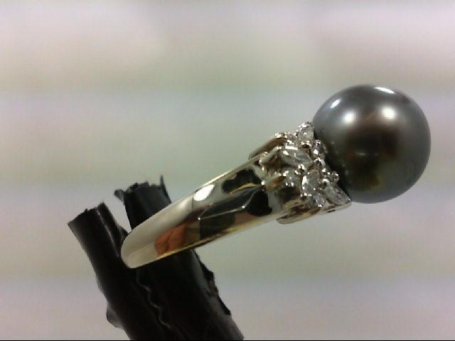 Pearl Lady's Stone & Diamond Ring 18 Diamonds .54 Carat T.W. 14K White Gold