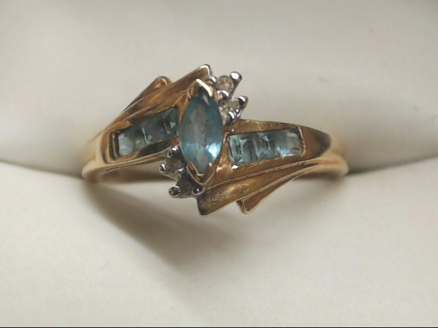 Blue Stone Lady's Stone Ring 10K Yellow Gold 2g Size:6.5