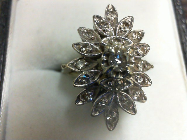 Lady's Diamond Cluster Ring 19 Diamonds 0.5 Carat T.W. 14K White Gold 6.3g