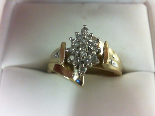 Lady's Diamond Cluster Ring 24 Diamonds 0.26 Carat T.W. 10K Yellow Gold 4.5g