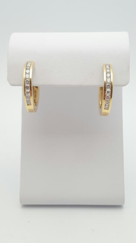 Gold-Diamond Earrings 70 Diamonds .70 Carat T.W. 14K Yellow Gold 7.1g