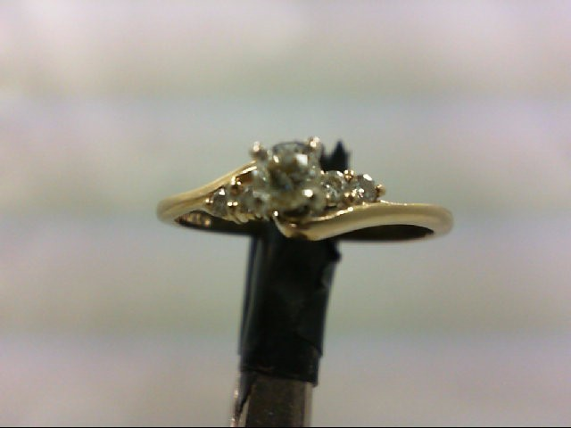 Lady's Diamond Engagement Ring 5 Diamonds 0.22 Carat T.W. 14K Yellow Gold 1.7g S