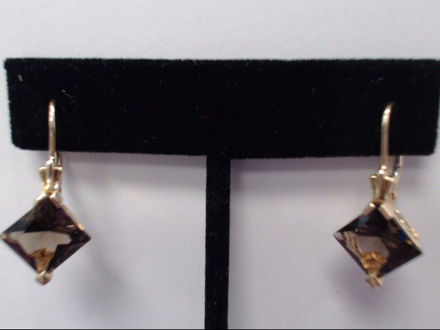 Brown Stone Gold-Stone Earrings 14K Yellow Gold 3.6g