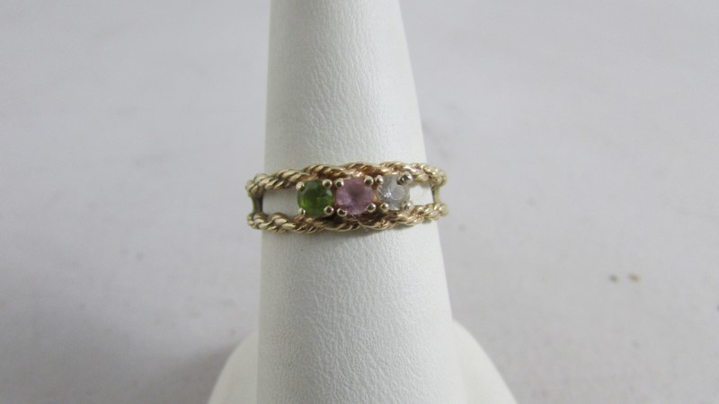 White Stone Lady's Stone Ring 14K Yellow Gold 2.95g Size:7.5