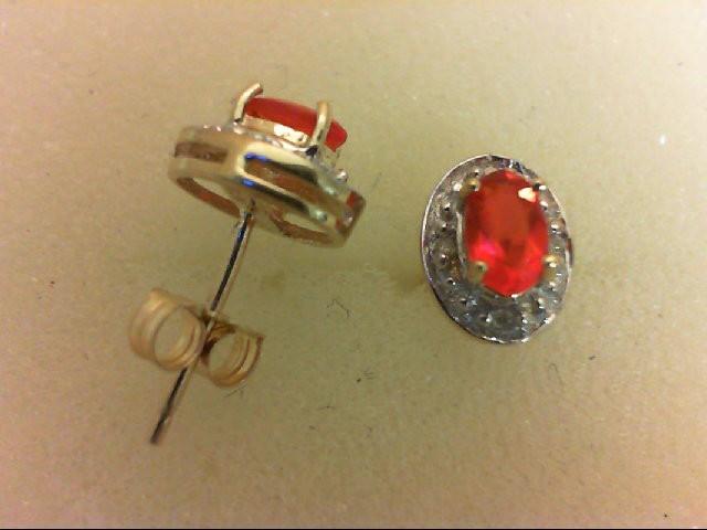 Synthetic Orange Stone Gold-Diamond & Stone Earrings 8 Diamonds 0.08 Carat T.W.
