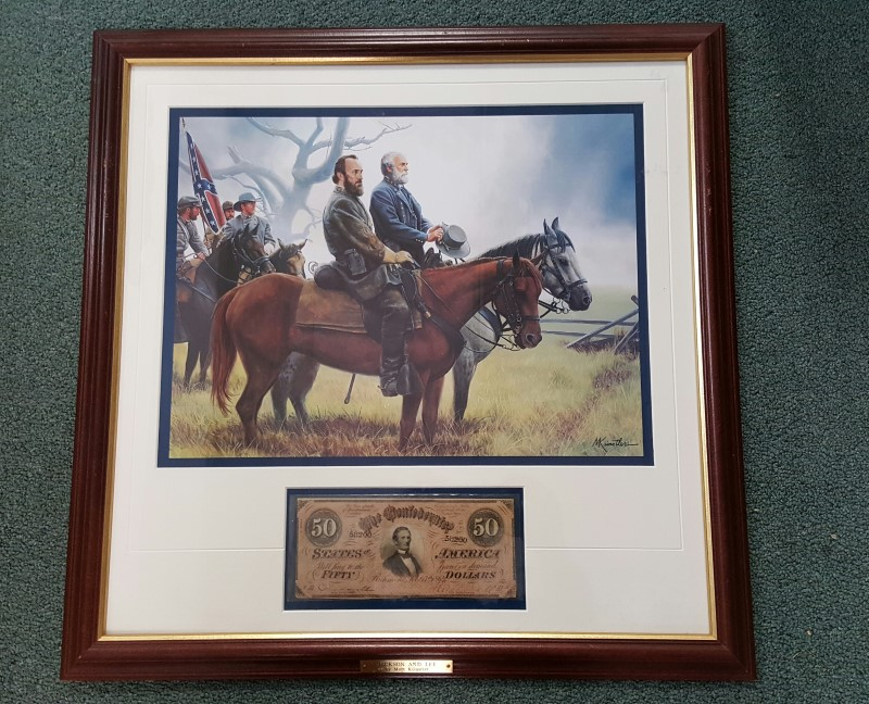 Limited Edition Print Jackson & Lee Mort Kunstler CSA $50 Confederate Bank Note