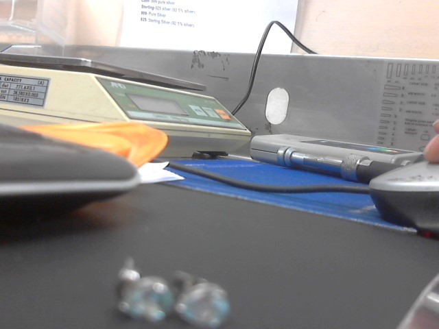 Synthetic Blue Topaz Silver-Stone Earrings 925 Silver 1.1g