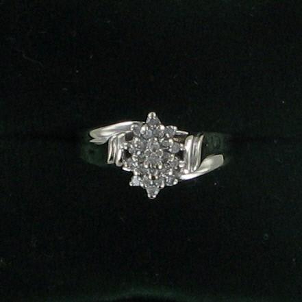 Lady's Diamond Cluster Ring 24 Diamonds .72 Carat T.W. 10K White Gold 2.7dwt