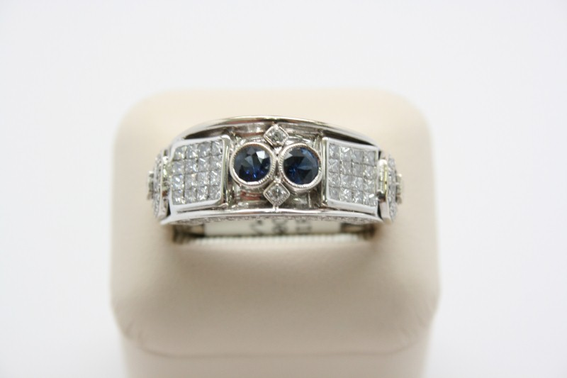 GENT'S FASHION STYLE DIAMOND AND SAPPHIRE RING 14K WHITE GOLD