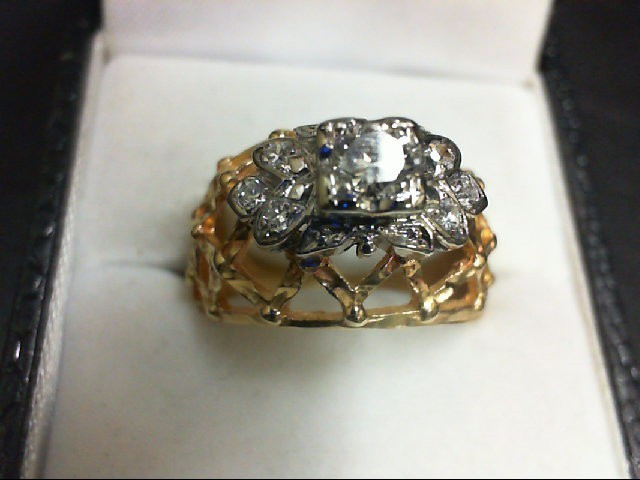 Lady's Diamond Cluster Ring 7 Diamonds 0.34 Carat T.W. 14K Yellow Gold 6g