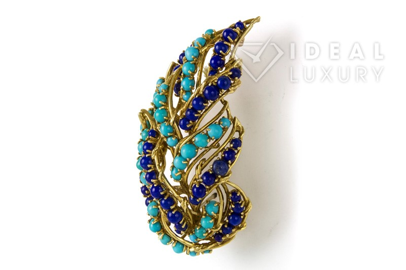Vintage Tiffany & Co 18K Yellow Gold Turquoise & Lapis Bead Earring & Brooch Set