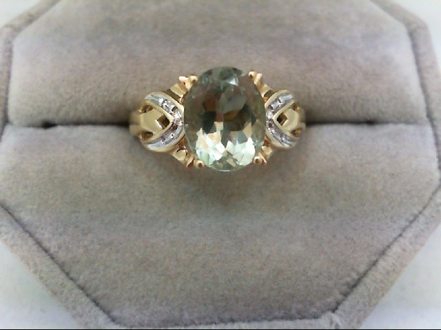 Peridot Lady's Stone Ring 14K Yellow Gold 3.9g