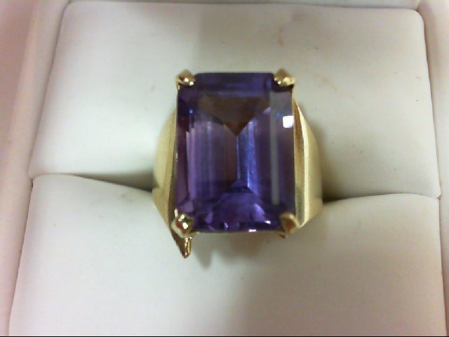 Synthetic Alexandrite Lady's Stone Ring 10K Yellow Gold 5.6g Size:5.5