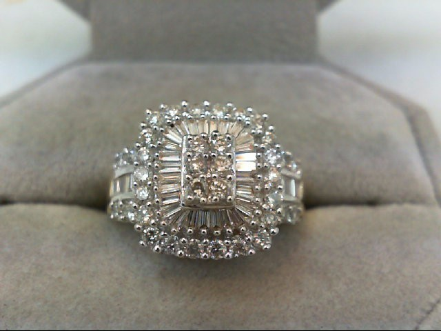 Lady's Diamond Cluster Ring 64 Diamonds 1.28 Carat T.W. 14K Yellow Gold 4.92g