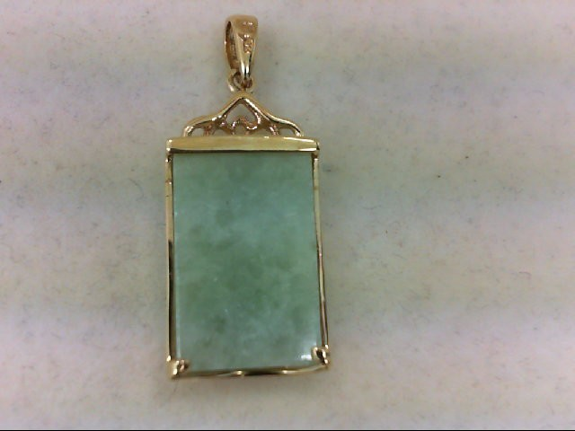 Jade Gold-Stone Pendant 14K Yellow Gold 3.9g
