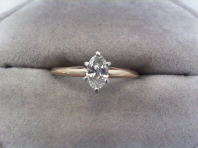 Lady's Diamond Solitaire Ring 0.32 CT. 14K Yellow Gold 1.9g