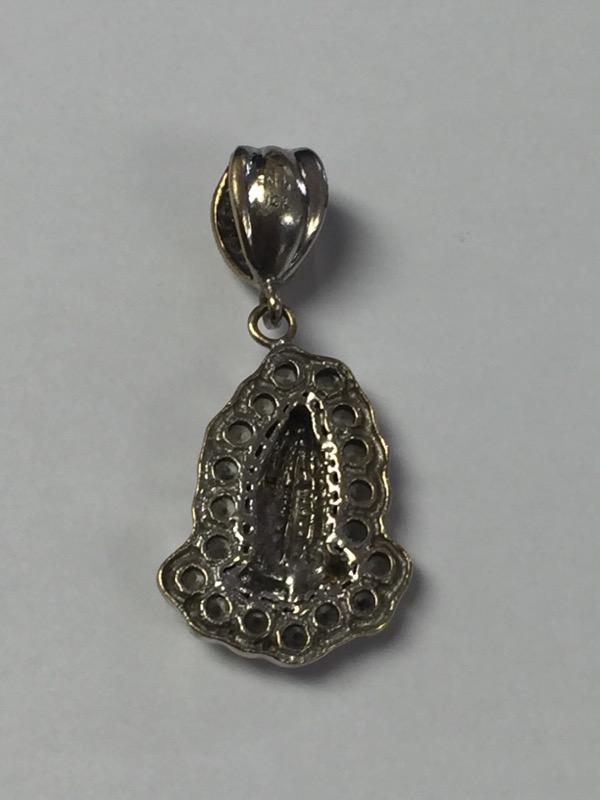 10K White Gold Textured Cubic Zirconia Praying Hands Religious Pendant