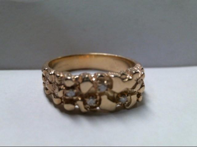 Gent's Diamond Cluster Ring 4 Diamonds .12 Carat T.W. 14K Yellow Gold 8.2g