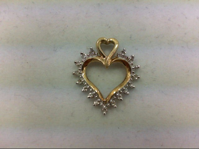 Gold-Multi-Diamond Pendant 17 Diamonds 0.17 Carat T.W. 14K Yellow Gold 1.1g