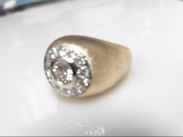 Diamond .50cts RB w 12 Diamonds .88 Carat T.W. 565 Yellow Gold 7.99g Size 6.5