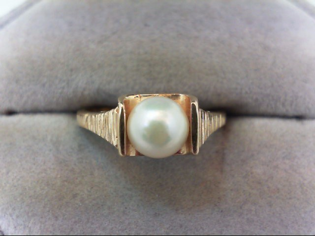 Pearl Lady's Stone Ring 14K Yellow Gold 2.9g