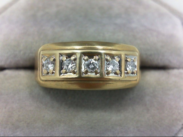 Gent's Gold-Diamond Wedding Band 5 Diamonds 0.4 Carat T.W. 10K Yellow Gold 5.5g