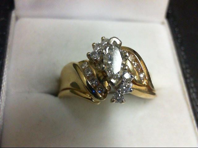 Lady's Diamond Wedding Set 15 Diamonds 0.74 Carat T.W. 14K Yellow Gold 6g