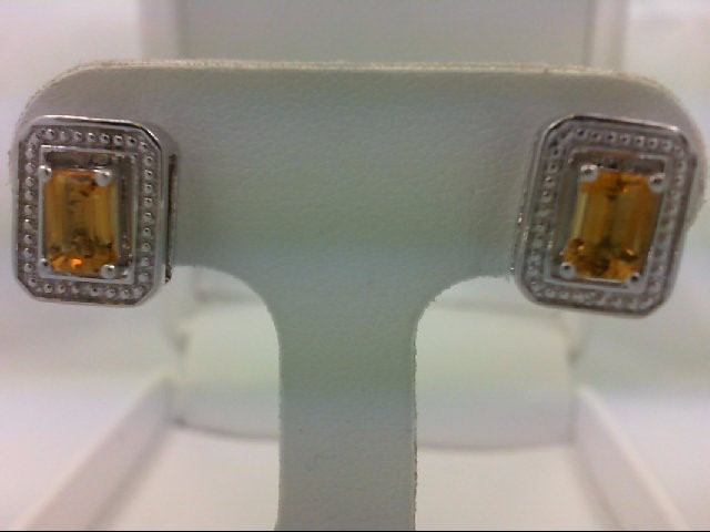 Citrine Silver-Stone Earrings 925 Silver 3.8g