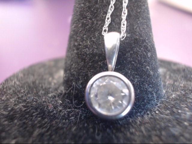 White Stone Stone Necklace 10K White Gold 1.1g