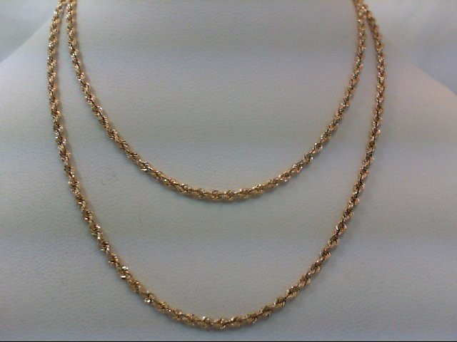 "22"" Gold Rope Chain 10K Yellow Gold 1.6g"