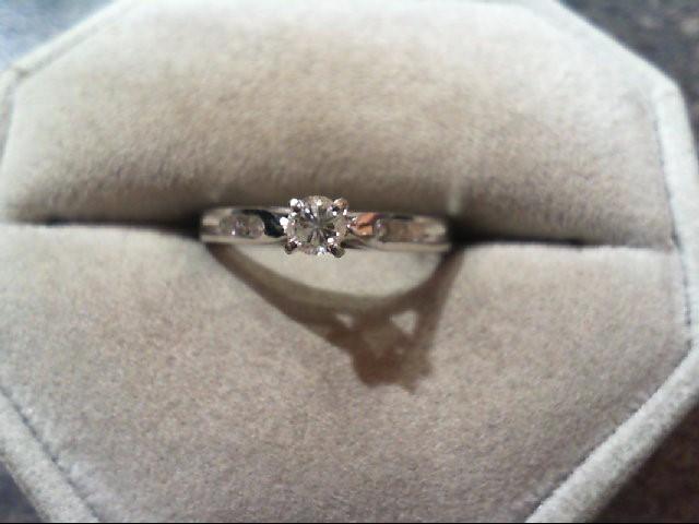 Lady's Diamond Engagement Ring 7 Diamonds .29 Carat T.W. 10K White Gold 1.7g