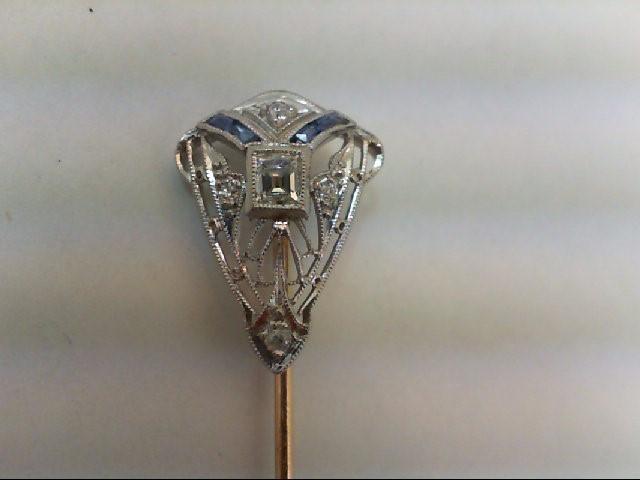 Sapphire Gold-Diamond-Stone Brooch 5 Diamonds .23 Carat T.W. 14K White Gold