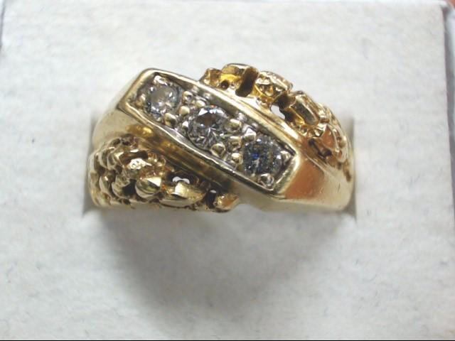 Gent's Diamond Cluster Ring 3 Diamonds .24 Carat T.W. 10K Yellow Gold 5.7g