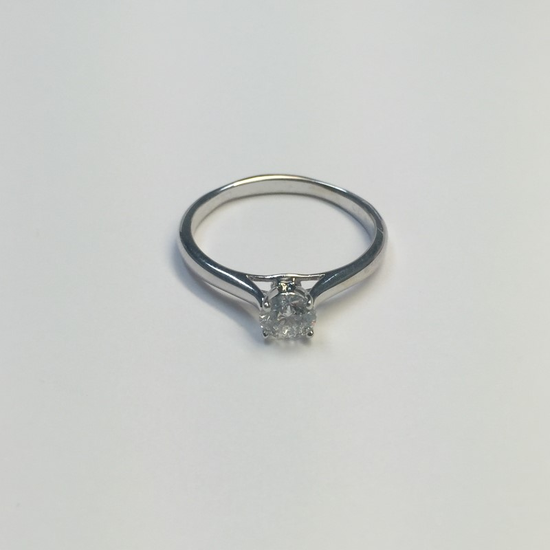 Lady's Diamond Solitaire Ring .71 CT. 14K White Gold 1.9dwt Size:10.2