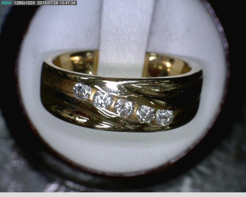 Gent's Gold-Diamond Wedding Band 5 Diamonds .30 Carat T.W. 14K Yellow Gold