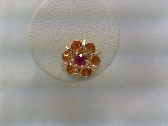Ruby Gold-Stone Earrings 14K Yellow Gold 1.6g
