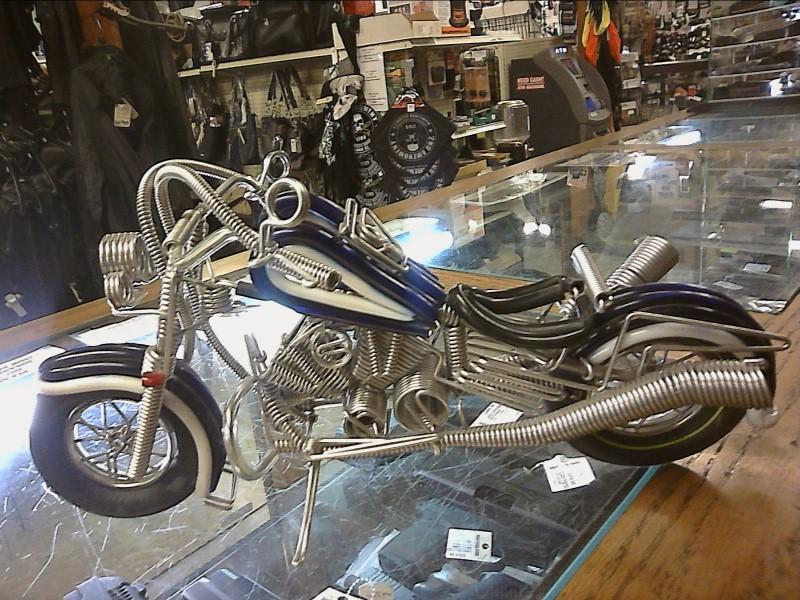 MOTORCYCLE MADE OF SPRINGS.  BLUE/WHITE & METAL SPRINGS