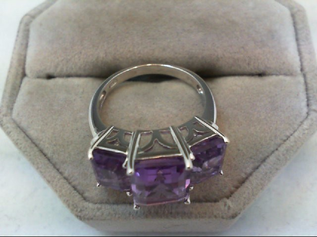 Amethyst Lady's Stone Ring 14K White Gold 5.5g