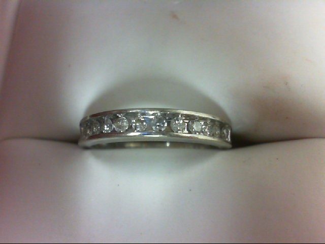 Lady's Diamond Wedding Band 12 Diamonds 0.36 Carat T.W. 10K White Gold 1.8g Size