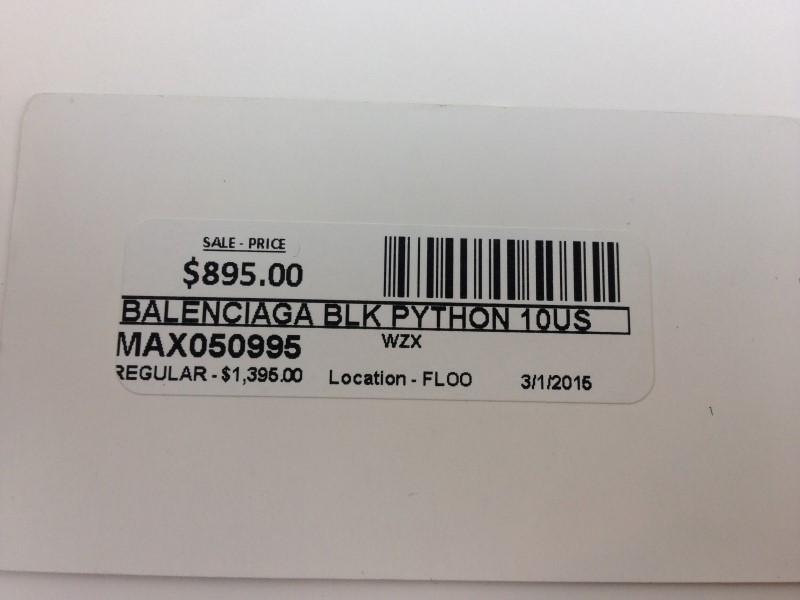 BALENCIAGA MATTE BLACK ARENA PYTHON SNEAKERS SIZE 1OUS 43E