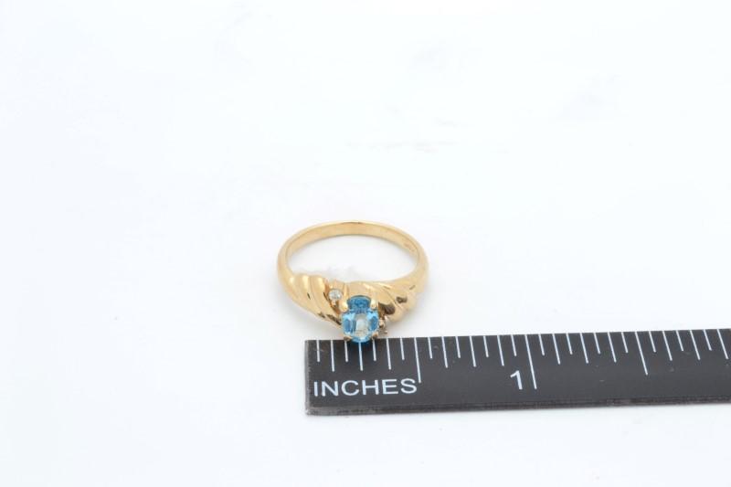 ESTATE BLUE TOPAZ DIAMOND RING SOLID 10K YELLOW GOLD OVAL CUT SZ 4.5