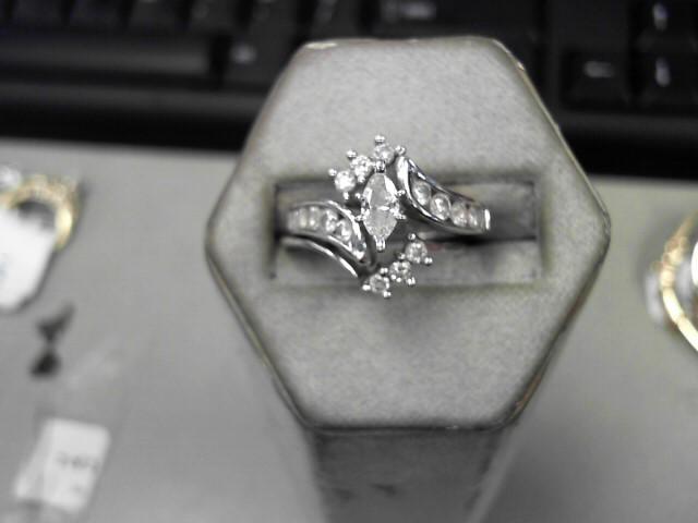 Lady's Diamond Wedding Set 17 Diamonds .96 Carat T.W. 14K White Gold 6.58g