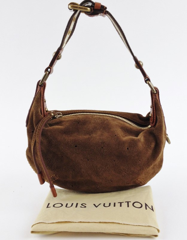LOUIS VUITTON LIMITED EDITION CACAO MONOGRAM SUEDE ONATAH PM BAG