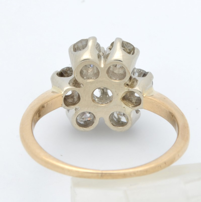 ESTATE DIAMOND RING SOLID 14K GOLD ENGAGEMENT FLOWER SNOWFLAKE  4.25