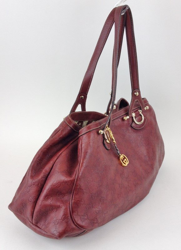 GUCCI RED LEATHER TOTE BAG 161726