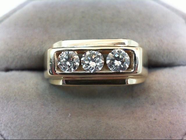 Gent's Gold-Diamond Wedding Band 3 Diamonds .75 Carat T.W. 14K Yellow Gold